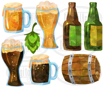 Watercolor Beer Clipart