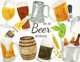 Watercolor Beer Clipart, Beer Graphics, Alcohol Clipart, D
