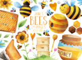 Watercolor Bees Clipart