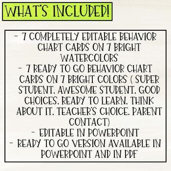 Watercolor Behavior Clip Chart (Editable)