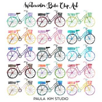 Watercolor Bike Clip Art