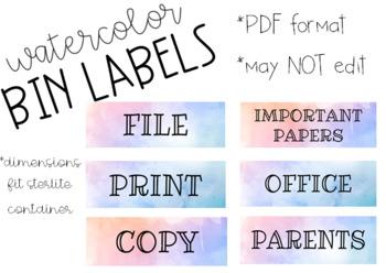 Watercolor Bin Labels