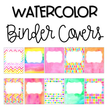 Watercolor Binder Covers *Editable* by Samantha Henry | TpT