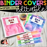 Watercolor Binder Covers and Spines {EDITABLE}