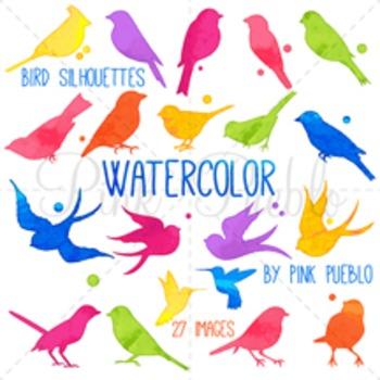 Watercolor Bird Silhouettes Clip Art Clipart, Watercolor Bird Clip Art Clipart