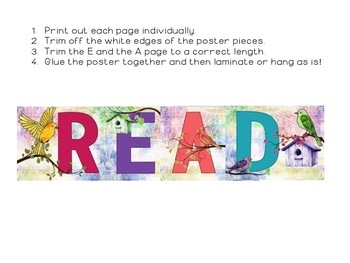 Watercolor Bird Themed READ Poster