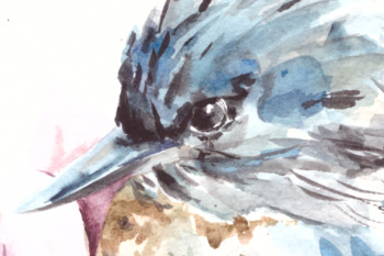 Watercolor Bird on Magnolia Print