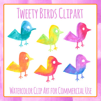 Watercolor Birds - Handpainted Watercolor Clip Art Set for Commercial Use