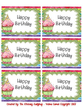 Watercolor Birthday Bag/Cup Labels (green)