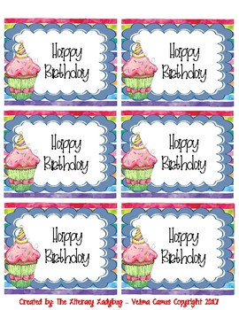 Watercolor Birthday Bag/Cup Labels (periwinkle)