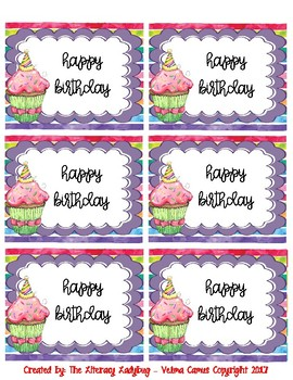 Watercolor Birthday Bag/Cup Labels (purple)