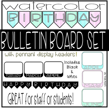 Watercolor Birthday Bulletin Board Set - Great for Staff or Students!