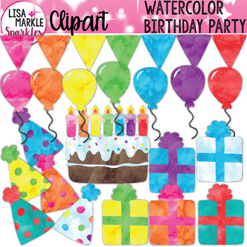 Watercolor Birthday Cake Candles Banner Hats Presents Clipart