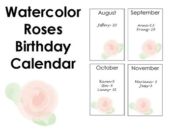 Watercolor Birthday Calendar