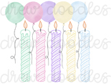 Watercolor Birthday Candles and Balloons Digital Clip Art Set