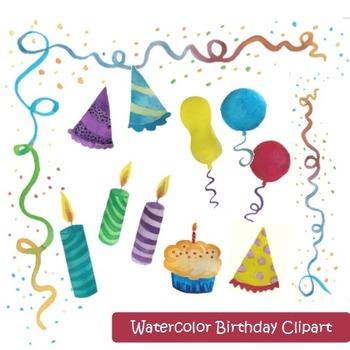 Watercolor Birthday Clipart