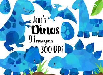 Watercolor Blue Dinosaurs