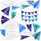 Watercolor Blue Paper Planes clipart
