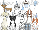 Watercolor Blue Party Dogs Digital Clip Art Set