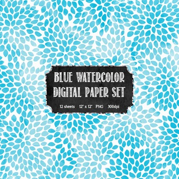 Watercolor Blue + White Modern Pattern Digital Paper Set {Commercial + Personal}