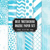 Watercolor Blue + White Modern Pattern Digital Paper Set {