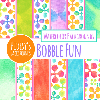 Watercolor Bobbles Digital Paper / Backgrounds / Patterns Clip Art Set