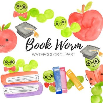 Watercolor Book Worm Clipart