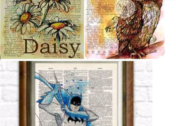 Watercolor Book pages with Song Lyrics