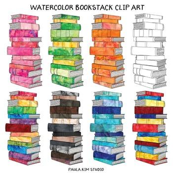 Watercolor Bookstack Clip Art