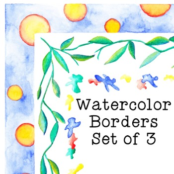 Watercolor Borders Clip Art Set of 3 PNG JPG Commercial or Personal Leaves Drips
