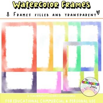 Watercolor Borders Clip Art and Writing / Printing paper