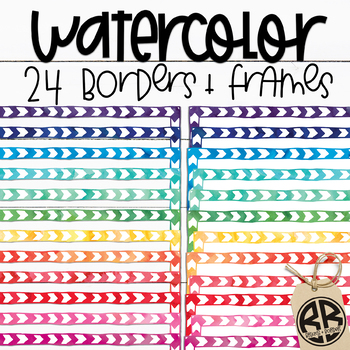 Watercolor Borders and Frames   24 pngs