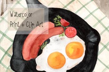 Watercolor Breakfast Print + Clip Art - Decor - Fried Eggs - Sausages