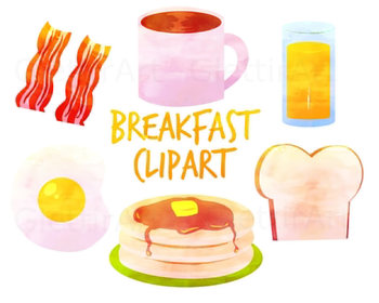 Watercolor Breakfast clipart, for personal and commercial use