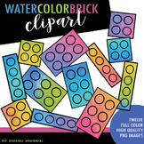 Watercolor Brick Clipart Bundle
