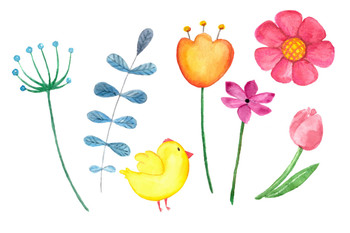 Watercolor Bright Chicks Clip Art