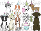 Watercolor Bright Party Dogs Digital Clip Art Set