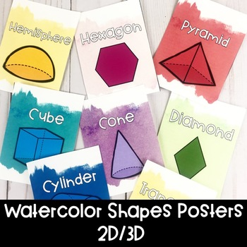 Watercolor Bright Shapes Posters | Distance Learning