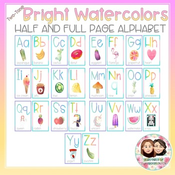 Watercolor Bright Two-Tone Alphabet -  Full and Half