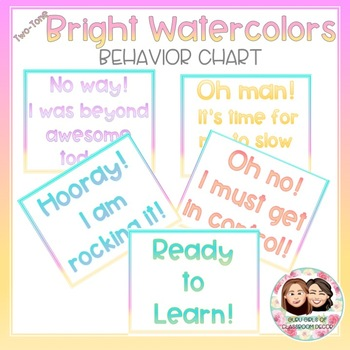 Watercolor Bright Two-Tone Behavior Chart