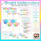 Watercolor Bright Two-Tone Classroom Decor Growing Bundle-Back to School Decor