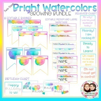 Watercolor Bright Two-Tone Classroom Decor Growing Bundle-Back to School Decor