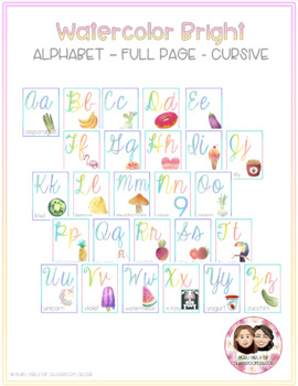 Watercolor Bright Two-Tone Full and Half Size Alphabet