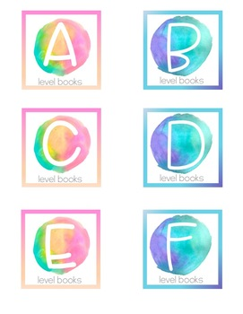 Watercolor Bright Two-Tone Labels for Book Bins