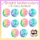 Watercolor Bright Two-Tone Table Numbers