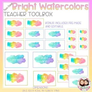 Watercolor Bright Two-Tone Teacher Toolbox