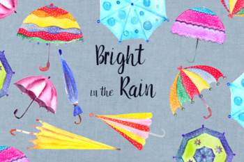 Watercolor Bright in the Rain Clip Art Set