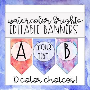 Watercolor Brights Banner - EDITABLE