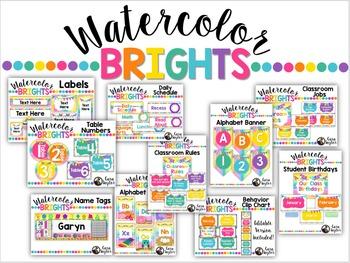 Watercolor Brights Classroom Decor Bundle