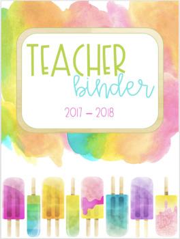 Watercolor Brights Teacher Binder